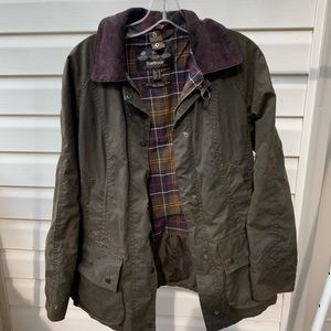 Men's Waxed Barbour Jacket in green, size 8
